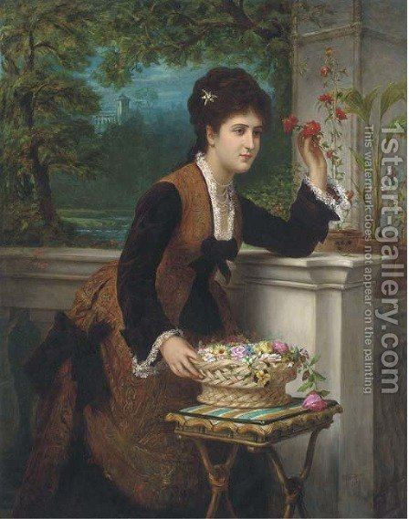 Arranging flowers on the balcony by Bernardo Amiconi - Reproduction Oil Painting