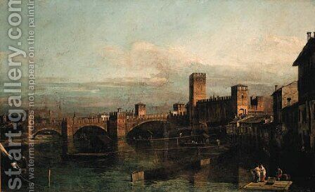 The Castelvecchio and the Ponte Scaligero, Verona by Bernardo Bellotto (Canaletto) - Reproduction Oil Painting
