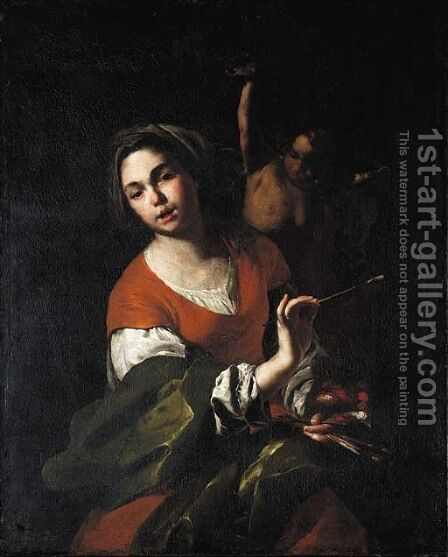 A personification of painting by Bernardo Cavallino - Reproduction Oil Painting