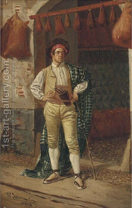 A wineskin maker by Bernardo Ferrandiz Y Badenes - Reproduction Oil Painting