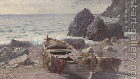 A fishing boat at low tide, Capri by Bernard Hay - Reproduction Oil Painting