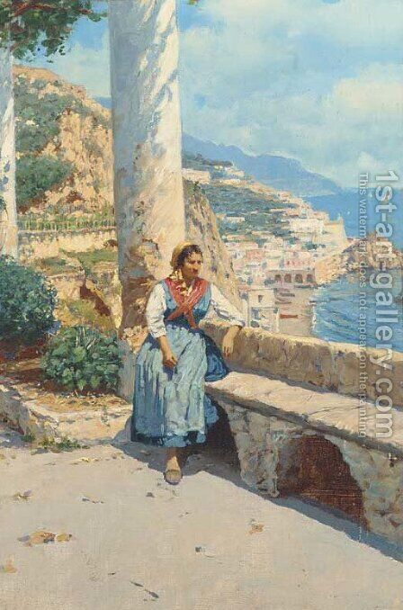 Along the Amalfi coast by Bernard Hay - Reproduction Oil Painting
