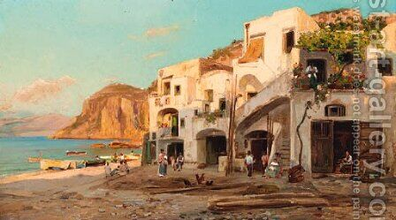 Houses by the beach, Capri by Bernard Hay - Reproduction Oil Painting