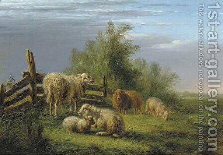 Sheep in a pasture by Bernardus Gerardus Ten Berge - Reproduction Oil Painting
