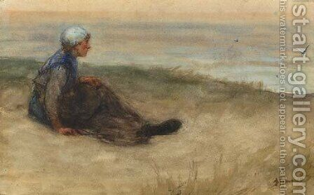 A fisherwoman in the dunes looking out over sea by Bernardus Johannes Blommers - Reproduction Oil Painting