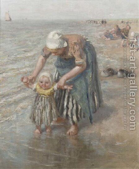 First steps in the surf by Bernardus Johannes Blommers - Reproduction Oil Painting