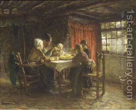 The hot supper by Bernardus Johannes Blommers - Reproduction Oil Painting