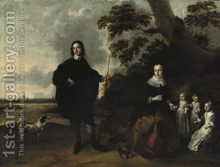 A group portrait of the Van Kuyl family with Utrecht in the background by Bernardus Swaerdecroon - Reproduction Oil Painting