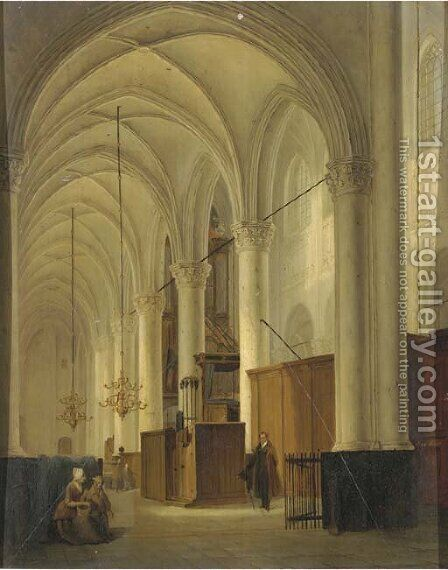 Figures in a exalted church interior by Bernardus Van De Laar - Reproduction Oil Painting