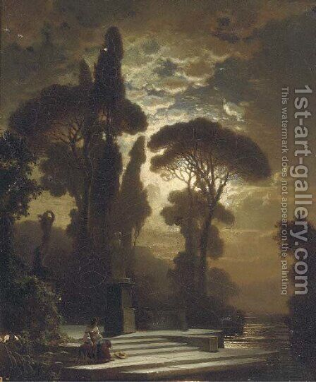 Contemplation by moonlight by Bernhard Stange - Reproduction Oil Painting