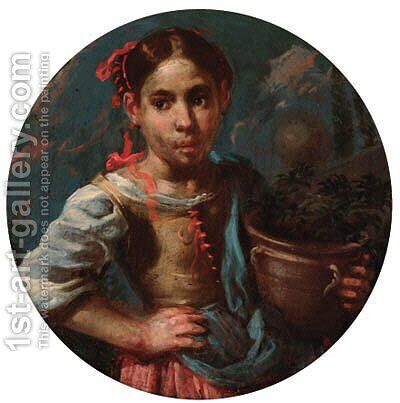 An allegory of summer a girl holding an earthenware pot with flowers by Bernhard Keil - Reproduction Oil Painting
