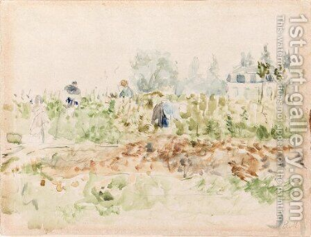 Dans les vignes (Bougival) by Berthe Morisot - Reproduction Oil Painting