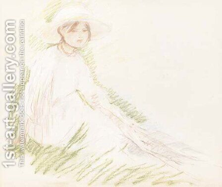 Fillette assise dans l'herbe by Berthe Morisot - Reproduction Oil Painting