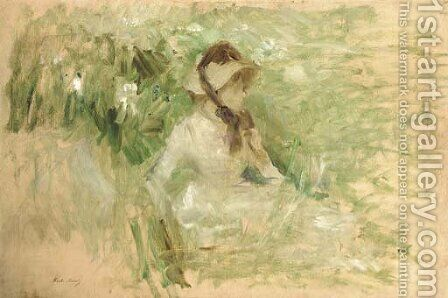 Jeune femme assise dans l'herbe by Berthe Morisot - Reproduction Oil Painting