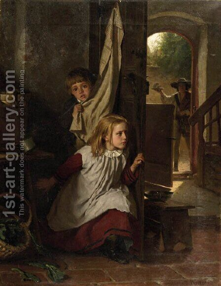 Playing hide-and-seek by Berthold Woltze - Reproduction Oil Painting