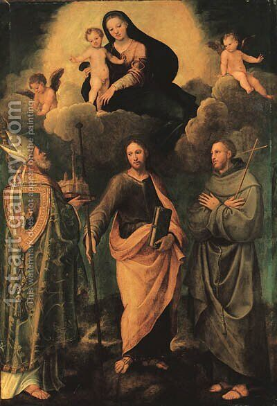 The Madonna and Child appearing to Saint Petronius of Bologna, the Apostle Saint James the Greater, and Saint Francis of Assisi by Biagio Pupini - Reproduction Oil Painting