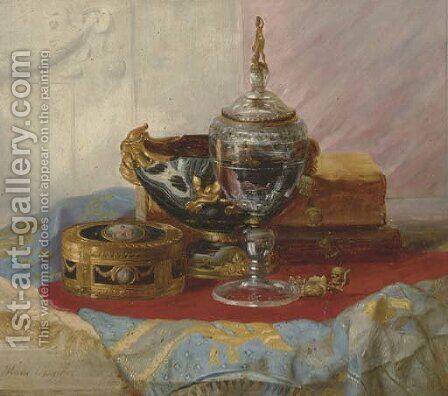 A Still Life with a Lady's Gold Box, a crystal Chalice and other Objects on a draped marble Table by Blaise Alexandre Desgoffe - Reproduction Oil Painting