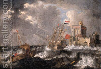 A Dutch threemaster and a wijdschip offshore in a gale, a fortified castle beyond by Bonaventura, the Elder Peeters - Reproduction Oil Painting
