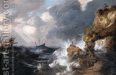A whaler shipwrecked off a rocky coast in a gale, with a whale rising in the sea, other shipping and survivors on an outcrop in the foreground by Bonaventura, the Elder Peeters - Reproduction Oil Painting