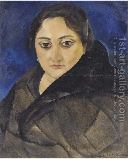 Portrait of a lady with dark eyes by Boris Dmitrievich Grigoriev - Reproduction Oil Painting