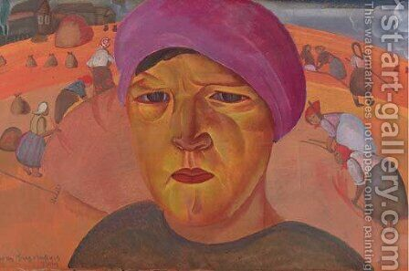 Russian Peasant Woman by Boris Dmitrievich Grigoriev - Reproduction Oil Painting
