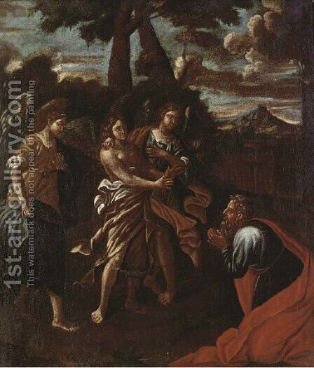 Abraham and three angels by Brescian School - Reproduction Oil Painting