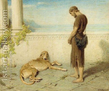 The dog, whom late had granted to behold his lord, when twenty tedious years had rolled takes a last look and having seen him dies by Briton Rivière - Reproduction Oil Painting