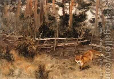 A Red Fox in a Landscape by Bruno Andreas Liljefors - Reproduction Oil Painting