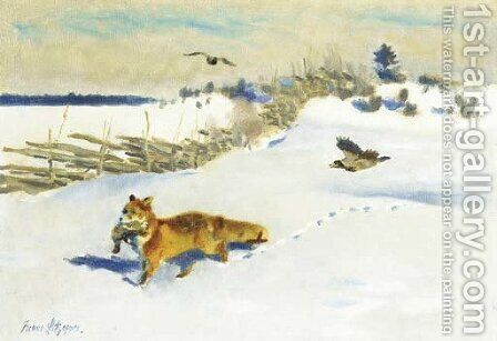 Fox, Pheasant, Crow by Bruno Andreas Liljefors - Reproduction Oil Painting