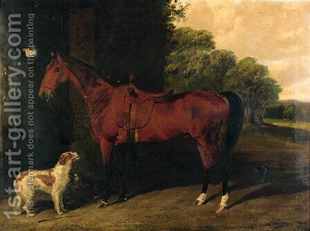 A Saddled bay Hunter, with dogs outside a stable by Byron Webb - Reproduction Oil Painting