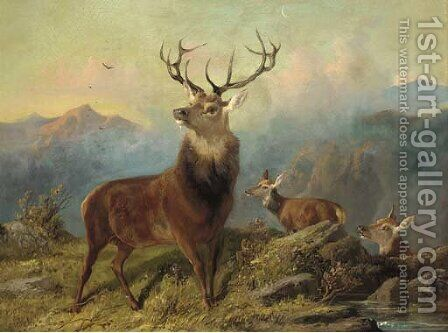 A stag and hinds in a landscape by Byron Webb - Reproduction Oil Painting
