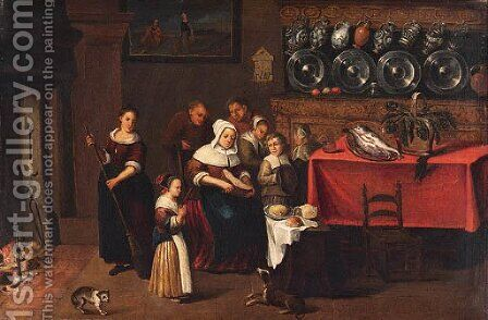 A Kitchen Interior with a Family gathered near a Table by Coenraet Decker - Reproduction Oil Painting