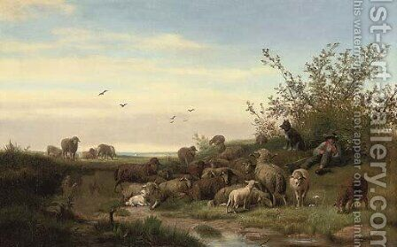 A shepherd resting with his flock by Caesar Bimmermann - Reproduction Oil Painting