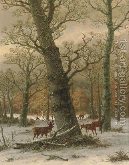 Deer in a Forest by Caesar Bimmermann - Reproduction Oil Painting
