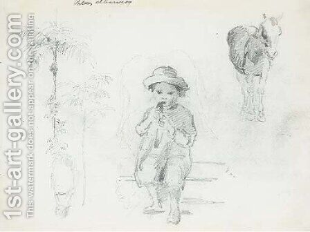 A seated boy eating, with studies of horses, palm trees and another figure by Camille Pissarro - Reproduction Oil Painting