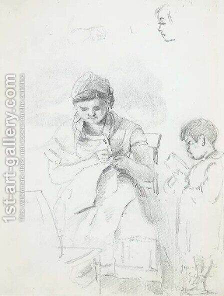 A seated woman sewing and a standing boy reading, with subsidiary studies of the woman's left arm and of the boy's head by Camille Pissarro - Reproduction Oil Painting