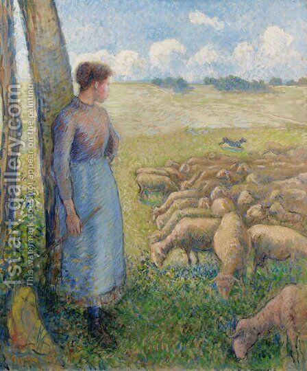 Bergere et moutons by Camille Pissarro - Reproduction Oil Painting