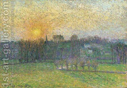Coucher de soleil, Bazincourt by Camille Pissarro - Reproduction Oil Painting