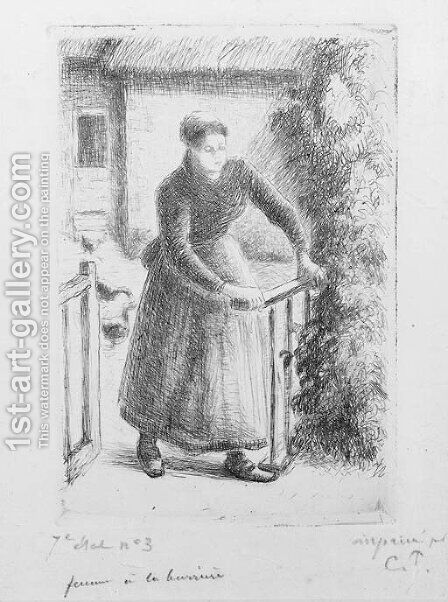 Femme a la Barriere by Camille Pissarro - Reproduction Oil Painting