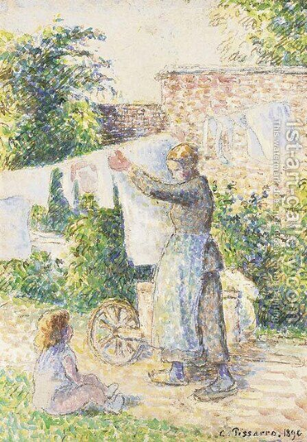 Femme etendant du linge, Aaragny by Camille Pissarro - Reproduction Oil Painting
