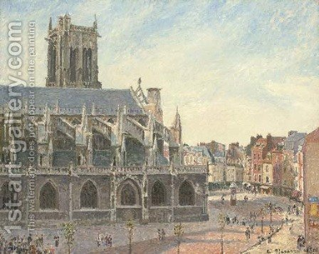 L'Eglise Saint-Jacques, Dieppe, matin, soleil by Camille Pissarro - Reproduction Oil Painting