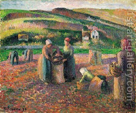 La Recolte des Pommes de Terre by Camille Pissarro - Reproduction Oil Painting