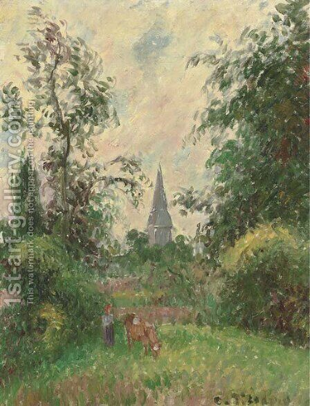Le clocher de Bazincourt by Camille Pissarro - Reproduction Oil Painting