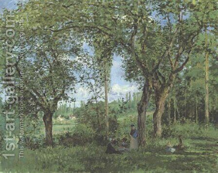 Le repos sous les arbres by Camille Pissarro - Reproduction Oil Painting