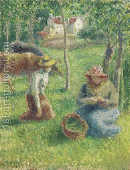 Les gardeuses de vaches by Camille Pissarro - Reproduction Oil Painting