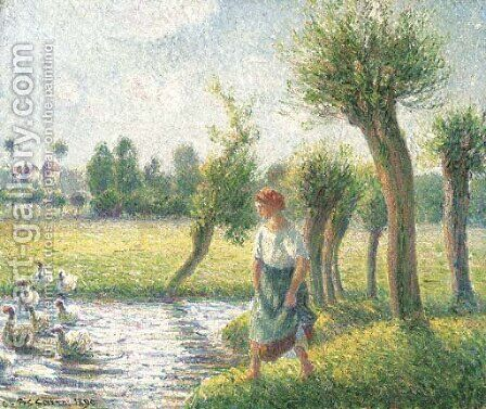Paysanne gardant des oies, Eragny by Camille Pissarro - Reproduction Oil Painting