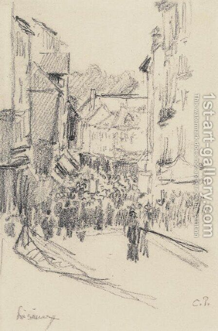 Scene de rue, Lisieux by Camille Pissarro - Reproduction Oil Painting