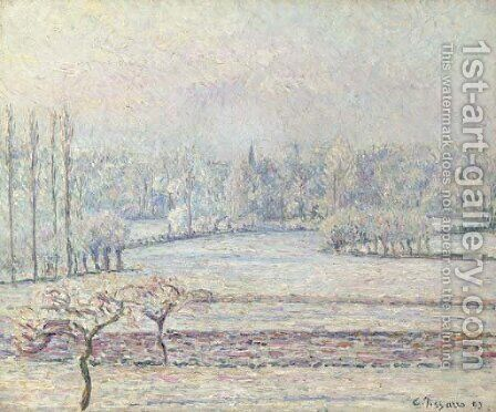 Vue de Bazincourt, givre, matin by Camille Pissarro - Reproduction Oil Painting