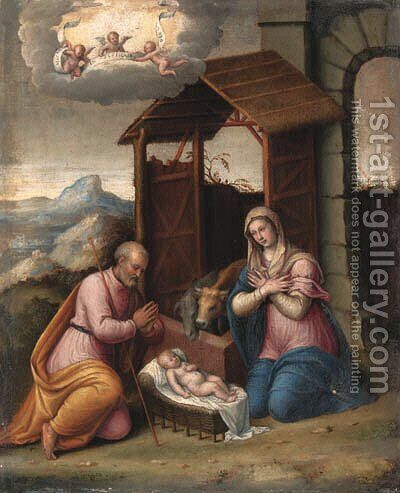 The Nativity by Camillo Filippi (Ferrara) - Reproduction Oil Painting