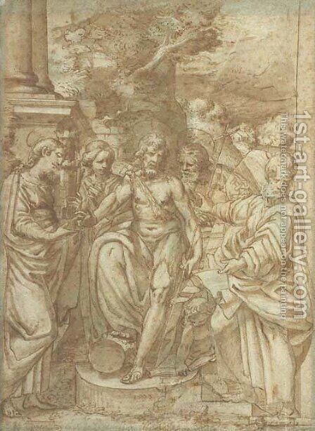 Saint John the Baptist flanked by Saint Barbara and other Saints by Camillo Procaccini - Reproduction Oil Painting
